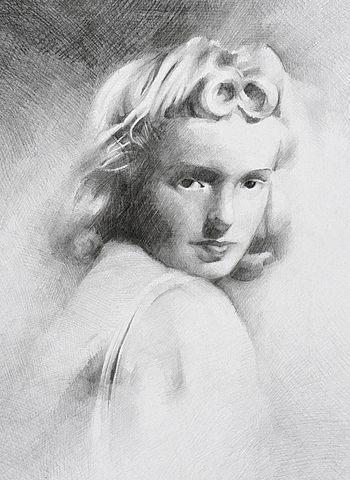 Rysunek przedstawiający Grażynę Chrostowską
