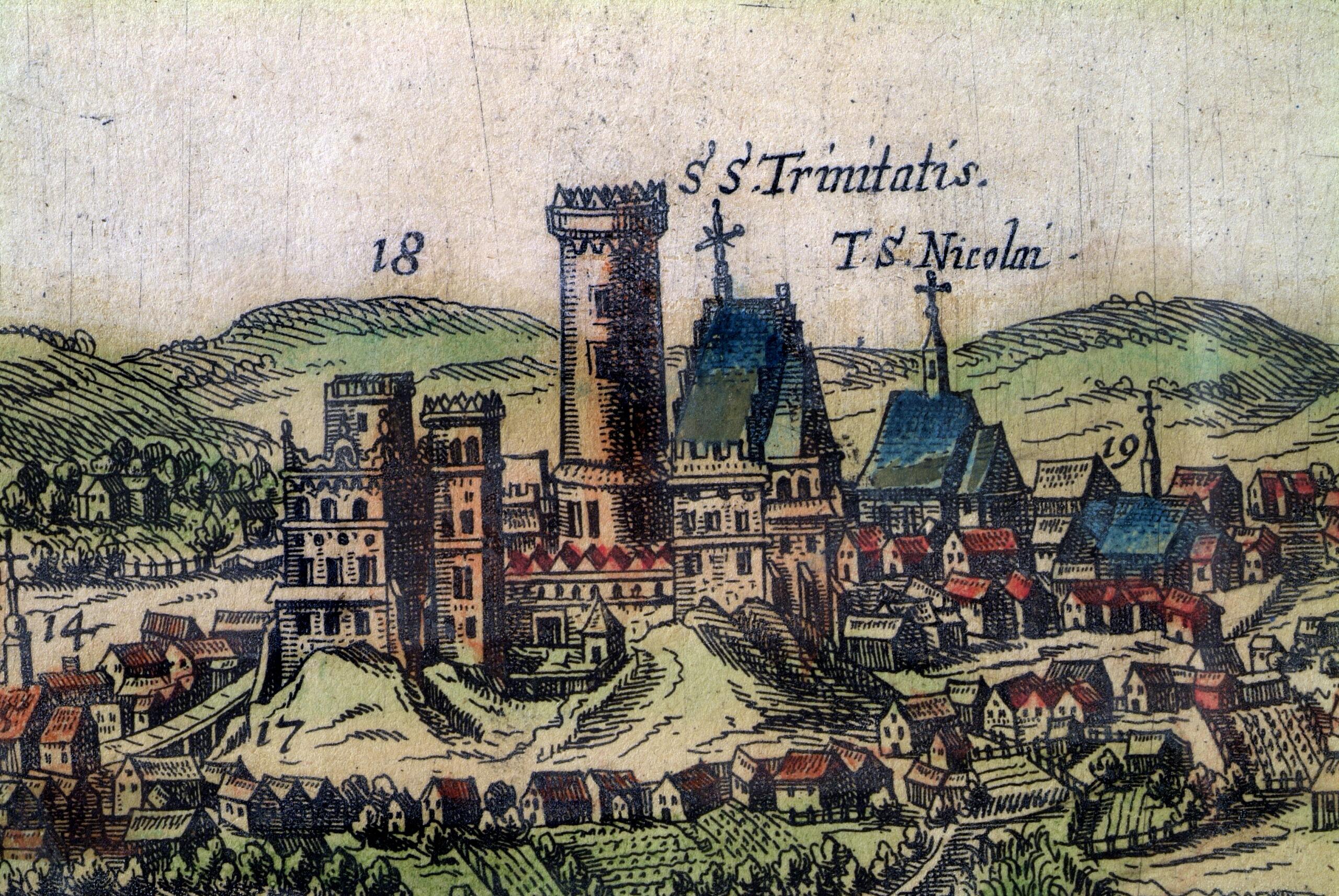 Fragment ryciny przedstawiający wzgórze zamkowe z 1618 roku.