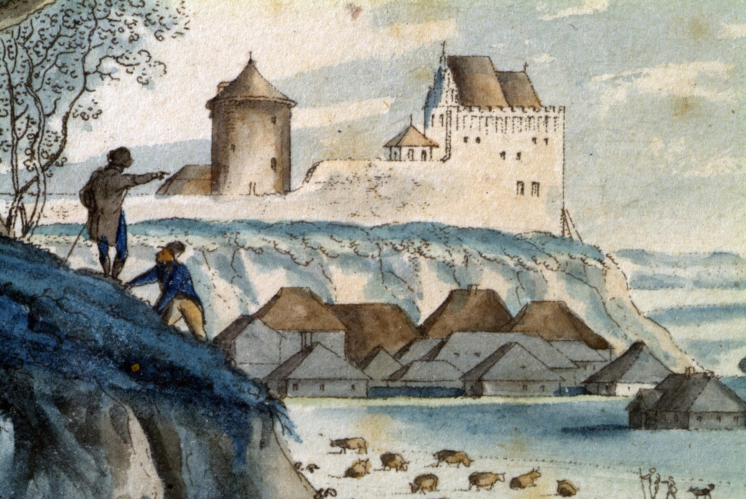 Obraz przedstawiający pozostałości zamku lubelskiego na wzgórzu - kaplicę z fragmentem murów obronnych i wieżę. U podnóża widoczne domy oraz pasące się bydło na łąkach.