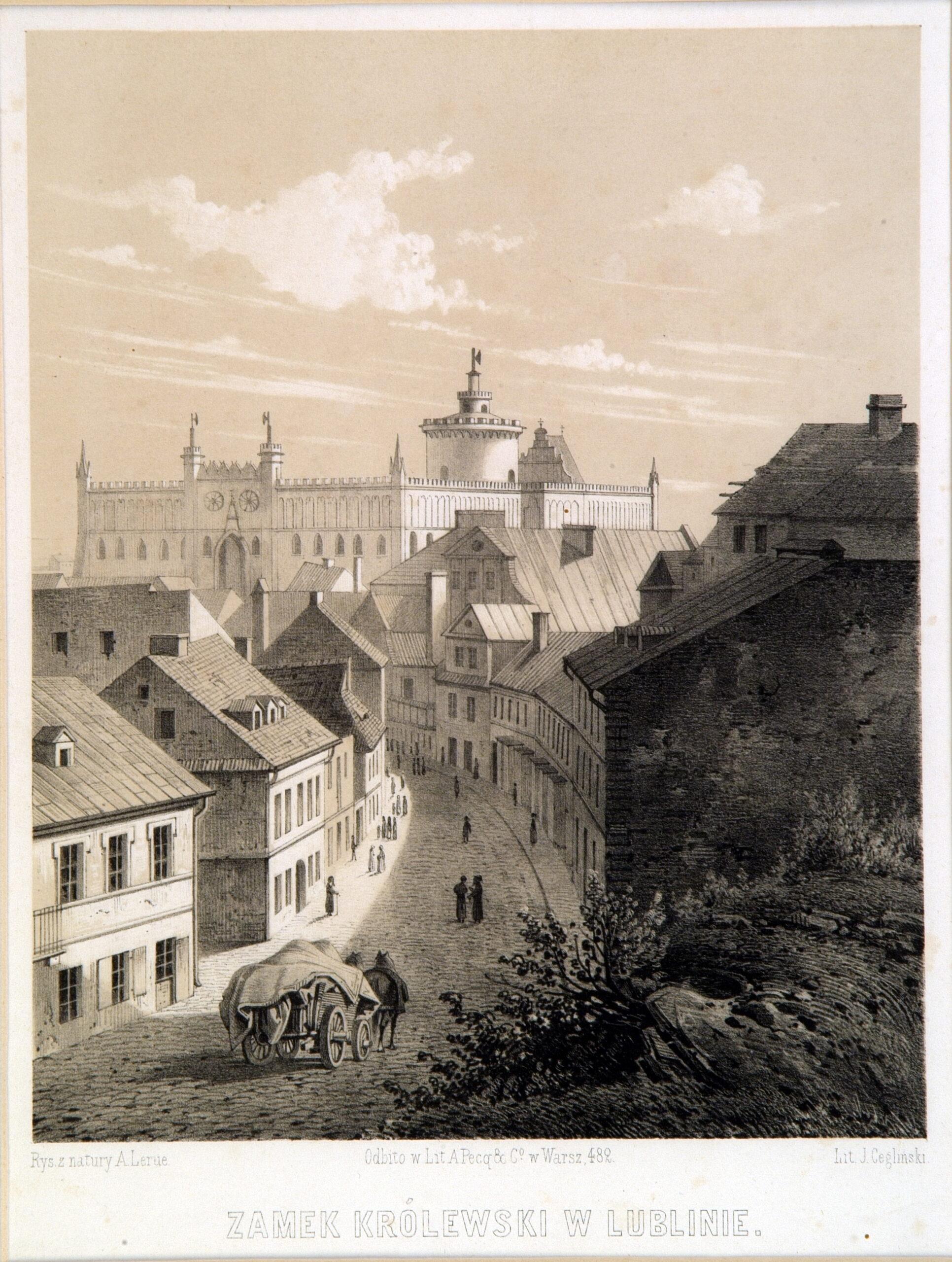 Grafika z widokiem na Zamek Lubelski od strony ulicy Kowalskiej, przy której znajdują się kamienice. Przez środek biegnie brukowana droga, po której jedzie wóz ciągnięty przez konie oraz spacerują ludzie.