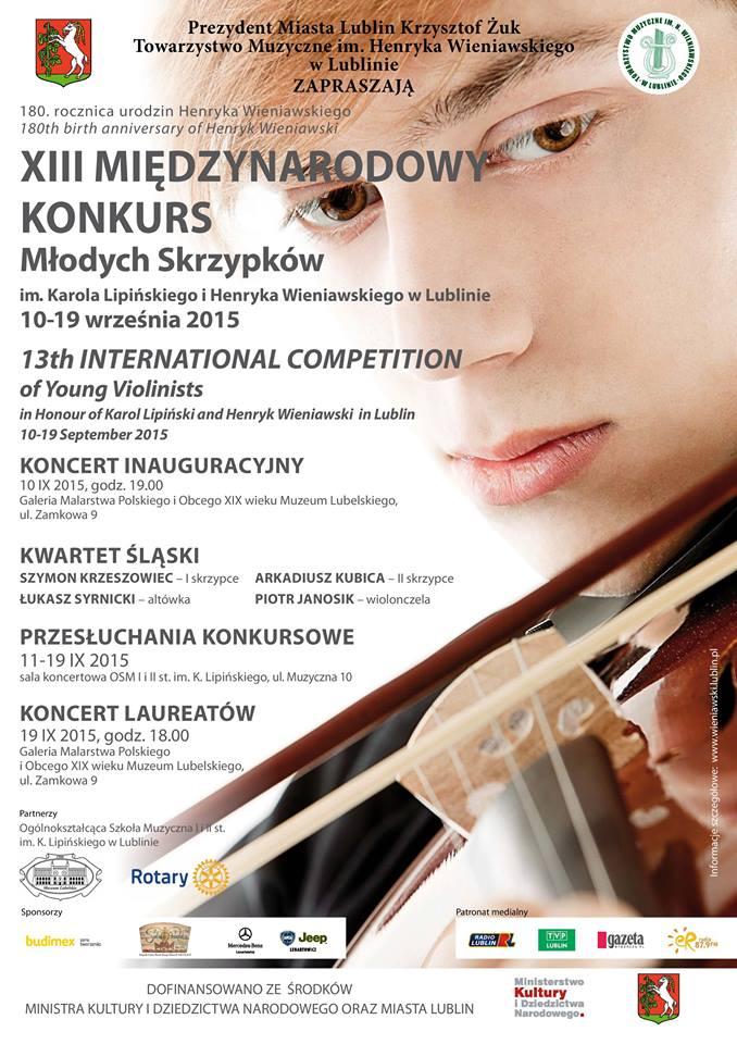 Plakat XIII Międzynarodowy konkurs młodych skrzypków 10-19.09.2015
