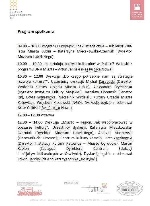 Program spotkania 26.05.2015