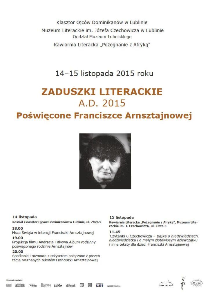 Zaproszenie na Zaduszki literackie 14-15 listopada 2015