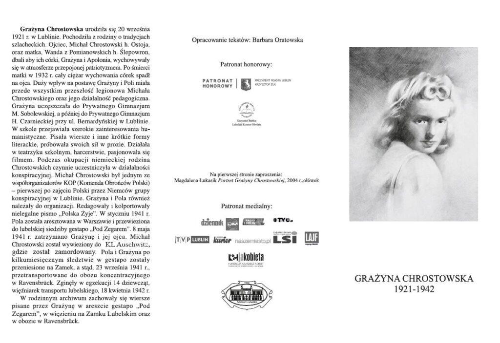 Biogram Grażyny Chrostowskiej i rysunek jej twarzy