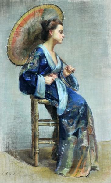 Obraz przedstawiający młodą kobietę siedzącą na wysokim stołku. Kobieta jest w japońskim stroju w kolorze niebieskim i trzyma parasol.