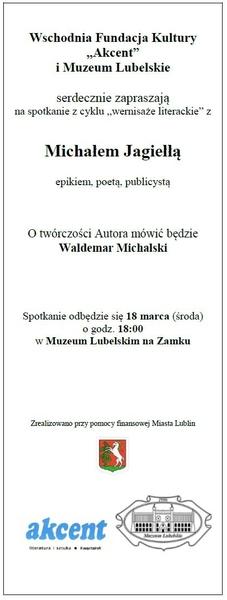 Zaproszenie na spotkanie z Michałem Jagiełłą 18 marca 2015