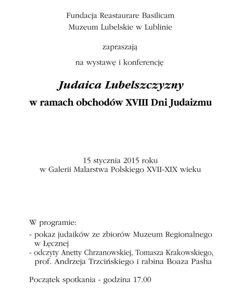 Zaproszenie na wystawę i konferencję 15.01.2015