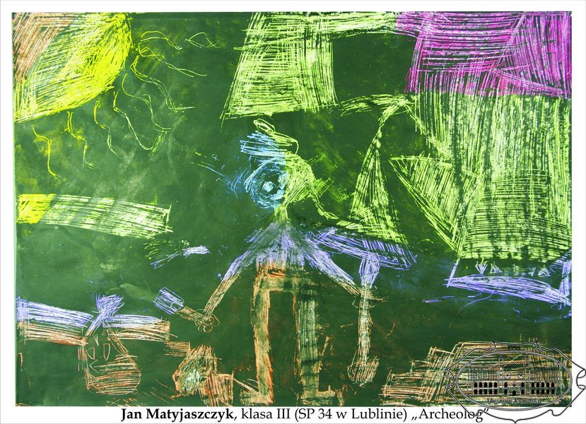 Kolorowy rysunek dziecka przedstawiający archeologa