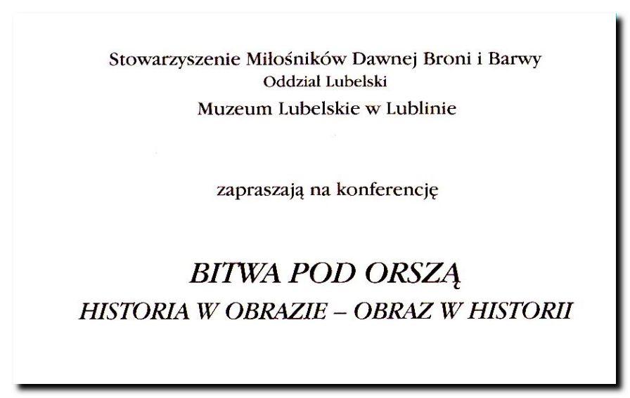 Zaproszenie na konferencję Bitwa pod Orszą