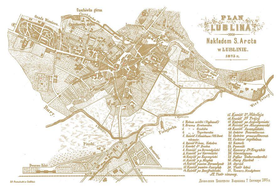 Plan Lublina z 1875 roku