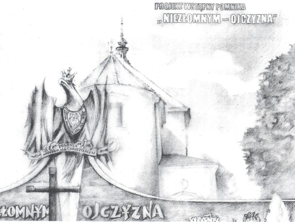 """Projekt wstępny pomnika """"Niezłomnym - ojczyzna"""""""