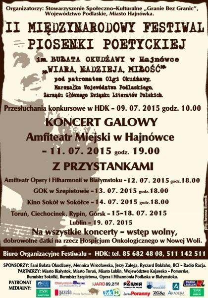Plakat Międzynarodowy Festiwal Piosenki Poetyckiej im. Bułata Okudżawy 19.07.2015