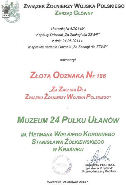 Informacja o odznaczeniu Złotą odznaką Muzeum 24 Pułku Ułanów