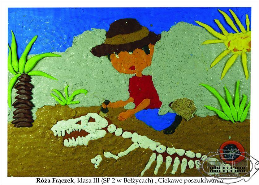Praca plastyczna wykonana plasteliną przedstawiająca archeologa odkopującego kości