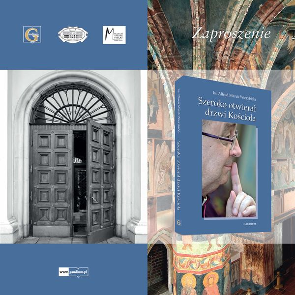 Zaproszenie na promocję książki 16.03.2016 - okładka książki, widok otwartych drzwi