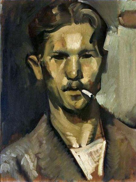 Obraz przedstawiający popiersie mężczyzny w średnim wieku z papierosem w ustach