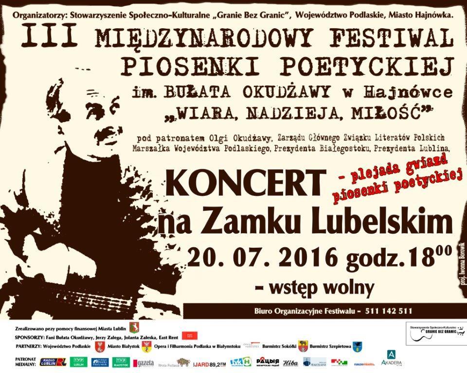 Plakat koncertu 20.07.2016
