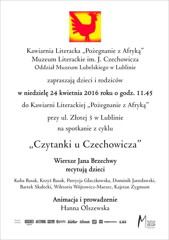 Zaproszenie na Czytanki 24.04.2016