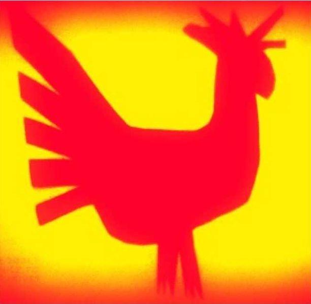 Czerwony zarys koguta na żółtym tle