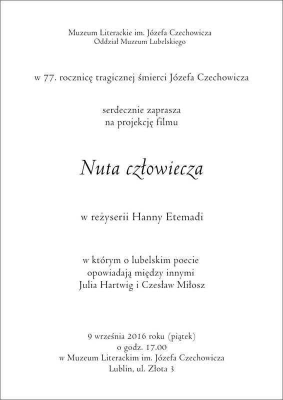 Zaproszenie na projekcję filmu Nuta człowiecza 9 września 2016