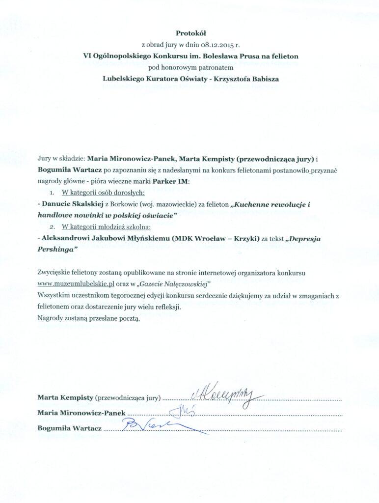 Protokół z obrad jury w dniu 8.12.2015