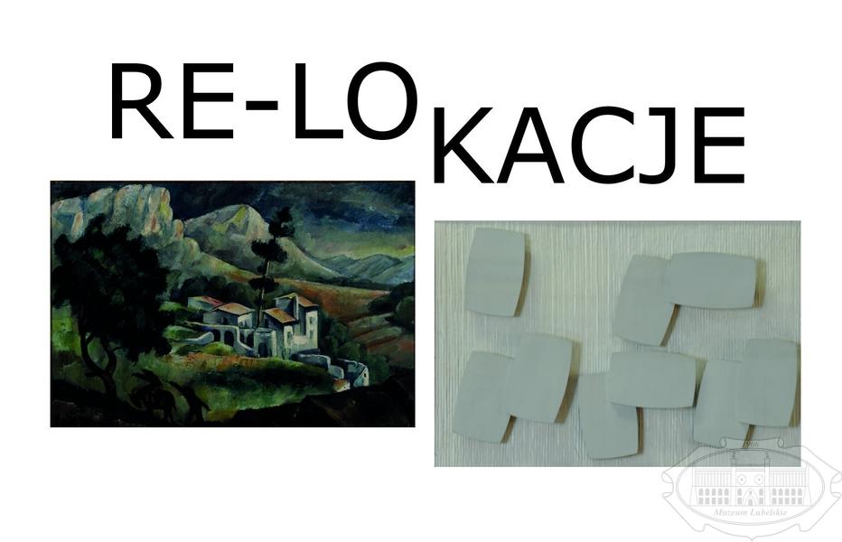 Napis RE-LOKACJE, poniżej pejzaż górski, obok abstrakcja