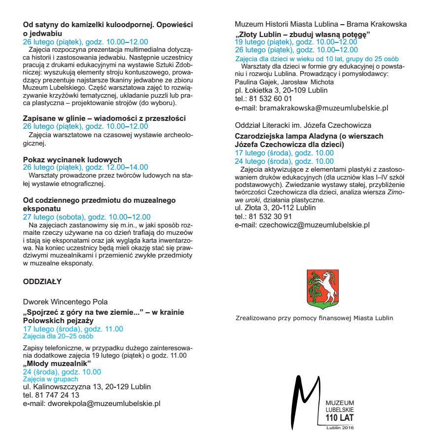 Ferie na Zamku Lubelskim 2016 program c.d.