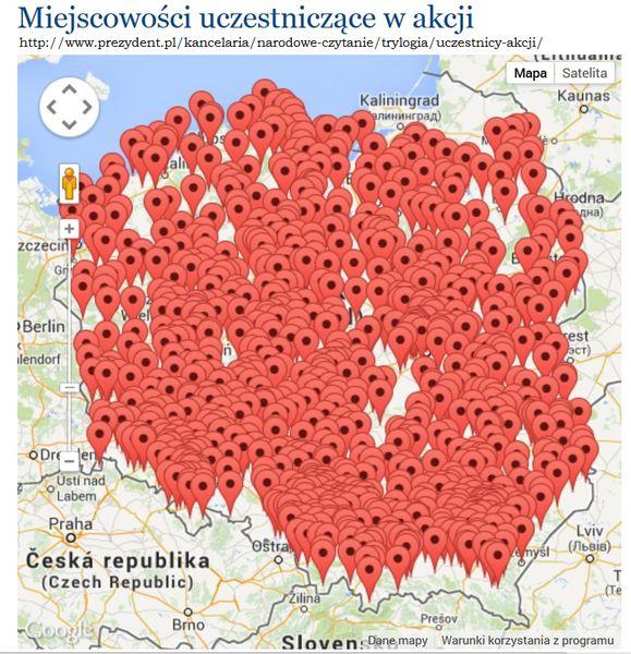 Mapa miejscowości uczestniczących w akcji
