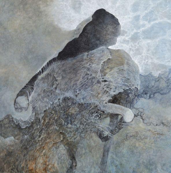 Obraz utrzymany w kolorach białym i brązowym, abstrakcyjne, organiczne formy
