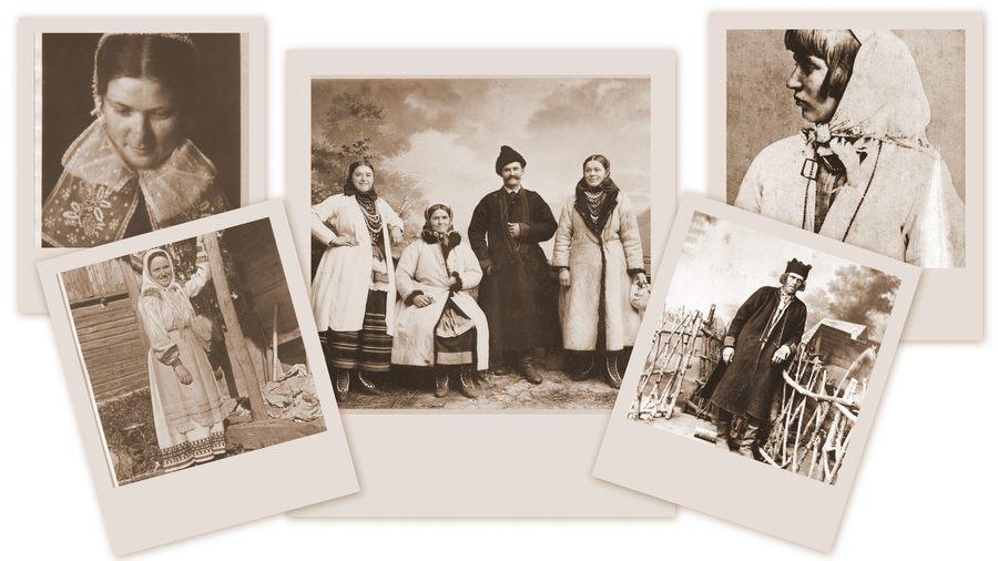 Kolaż z pięciu fotografii w kolorze sepii przedstawiających postaci w ludowych strojach.