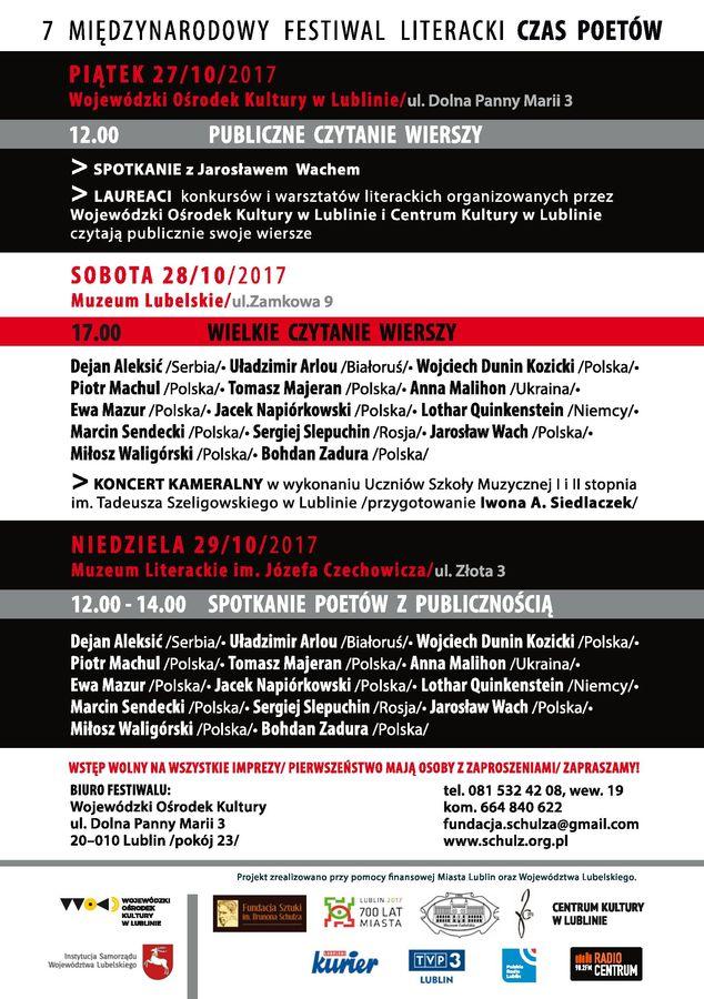 Program festiwalu Czas Poetów 2017