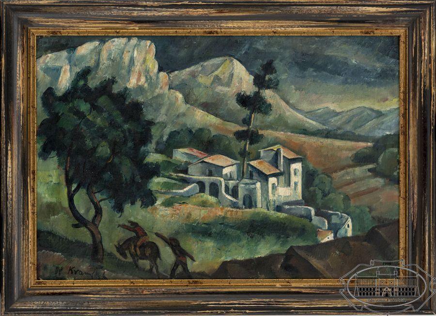 Obraz w poziomie, w drewnianej ramie;  pejzaż górski, w centrum kilka białych domów, z lewej strony na pierwszym planie wysokie drzewo, pod nim widoczne dwie niewielkie postaci ludzkie, jedna na koniu.