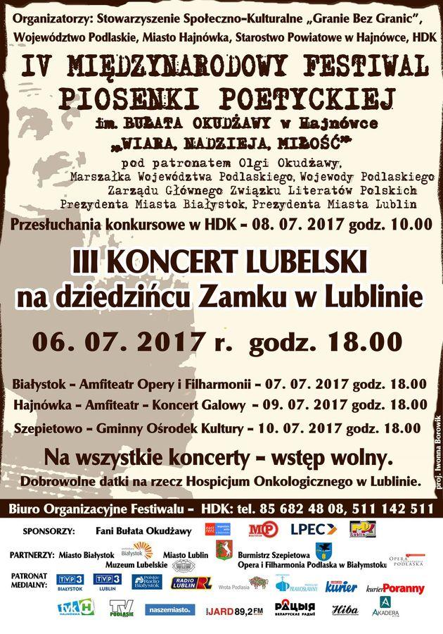 Plakat koncertu 6.07.2017
