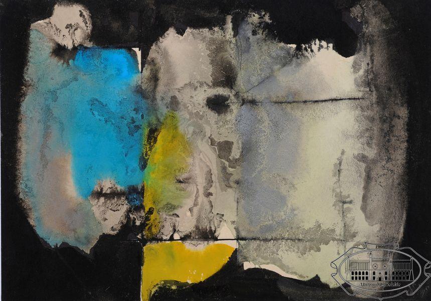 Grafika przedstawiająca nieregularną, biało-niebiesko-żółtą plamę na czarnym tle