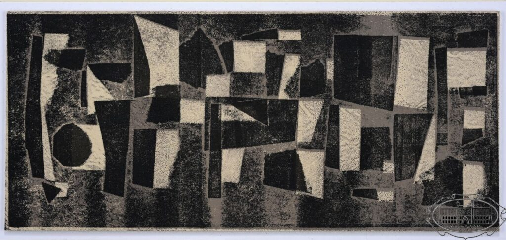 Czarno-biała grafika, geometryczne, nieregularne formy