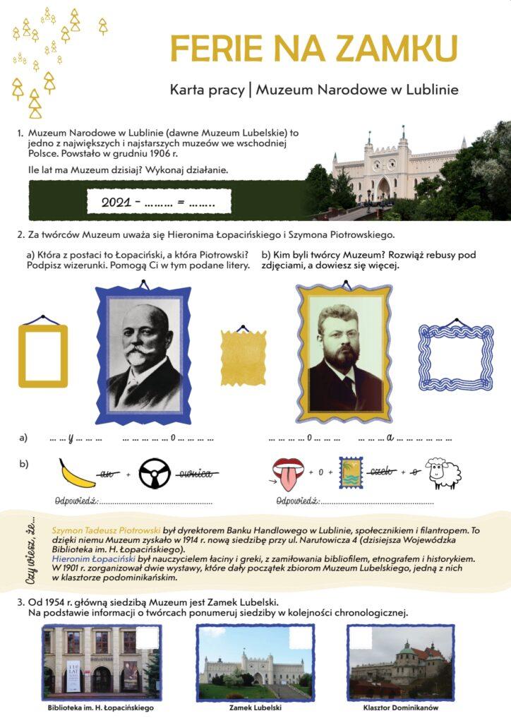 Karta pracy z trzema pytaniami związanymi z Muzeum Narodowym w Lublinie.