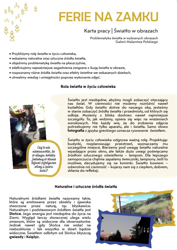 Karta pracy - Światło w obrazach; Problematyka światła w wybranych obrazach Galerii Malarstwa Polskiego