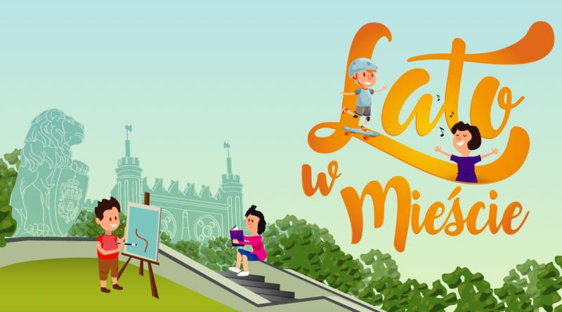"""Plakat promujący akcję Lato w Mieście. Z lewej strony para dzieci na tle Zamku Lubelskiego. Chłopiec maluje obraz, dziewczynka czyta książkę. Na tle napisu """"Lato w Mieście"""" druga para dzieci: chłopiec jeździ na deskorolce, dziewczynka śpiewa."""