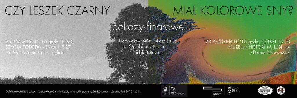 Plakat pokazów finałowych 26 i 28 października 2016
