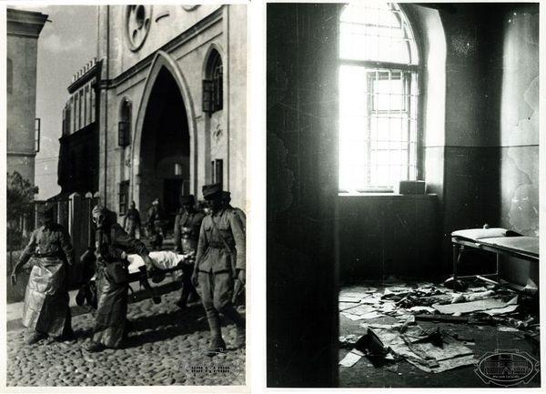 Dwa zdjęcia: zdjęcie po lewej stronie przedstawia bramę do Zamku Lubelskiego i wychodzących z niej żołnierzy, z prawej strony wnętrze pokoju, w którym panuje bałagan