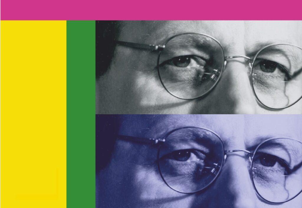 Dwa jednakowe zbliżenia na oczy mężczyzny w okularach, obok po lewej paski żółtego i zielonego koloru, u góry różowy pas koloru