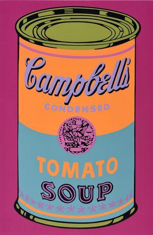 Rysunek puszki Campbell's z zupą pomidorową na różowym tle
