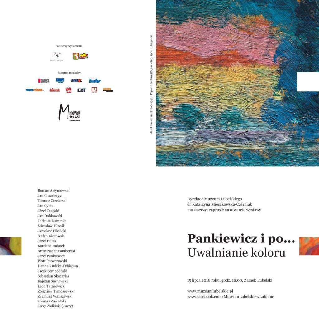 Zaproszenie na wystawę Pankiewicz i po... uwalnianie koloru