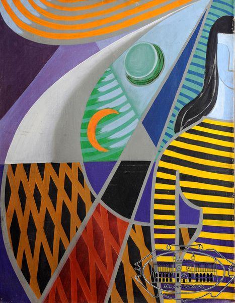 Kolorowy obraz przedstawiający wyobrażenia figuralne w połączeniu z układem abstrakcyjnych geometrycznych figur. Sylwetowo wyobrażona postać kobieca ukazana na tle prostych geometrycznych podziałów płótna.
