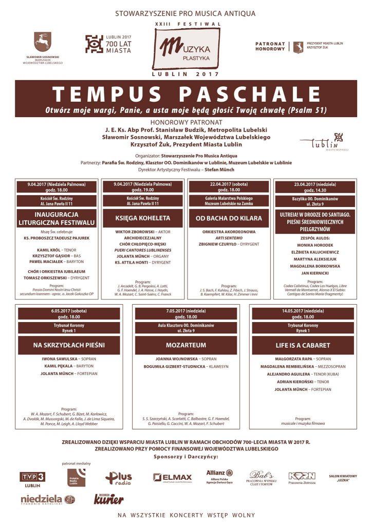 Program festiwalu Tempus Paschale 2017