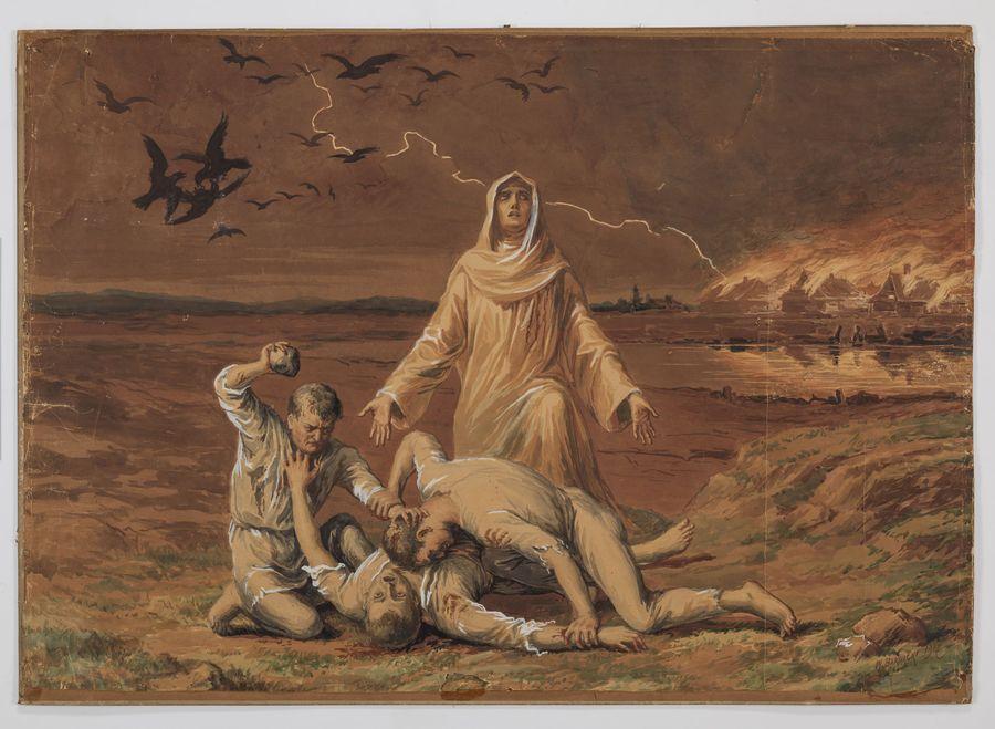 Obraz przedstawia trzech bijących się mężczyzn. Mężczyzna z lewej strony klęczy na ziemi i unosi nad głową kamień. Kamień wycelowany jest w mężczyznę leżącego na wznak na ziemi. Nad leżącym pochyla się trzeci mężczyzna, trzymając obydwie postaci za ręce w geście walki. W centrum za grupą mężczyzn stoi kobieta w obszernej szacie. Ma rozłożone ręce i spogląda w niebo. Na niebie lecą czarne ptaki, widać błyskawicę uderzającą w domy widoczne w tle. Domy zdają się płonąć.