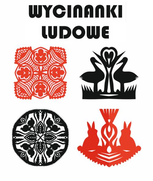 Czerwono-czarna grafika z napisem Wycinanki ludowe przedstawiająca wzór czterech wycinanek