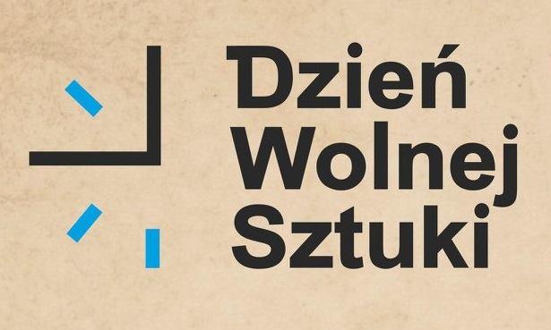 Plakat z napisem: Dzień Wolnej Sztuki. Z lewej strony minimalistyczny zarys zegara.