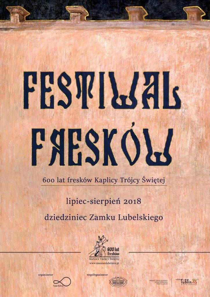 Plakat promujący Festiwal Fresków wykonany w stylu przypominającym freski z Kaplicy Trójcy Świętej na Zamku Lubelskim.