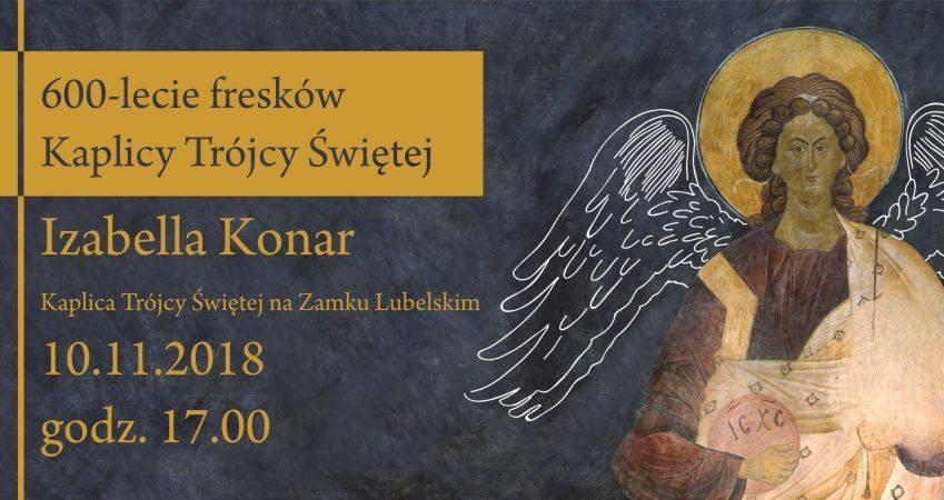 Plakat promujący koncert. Z lewej strony tekst, z prawej wizerunek anioła z fresków z Kaplicy Trójcy Świętej na Zamku Lubelskim. Granatowe tło.